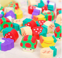 Wholesale Colorful Fruit Pencil eraser erasers for kids school Supplies erasers stationery rubber articulos escolares