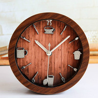 Cheap 5'' 4 Colors Coffee Cups Round Silent Non-ticking Desk Wall Clocks Table Clock Vintage Desktop Clock For Bedroom Alarm Clock