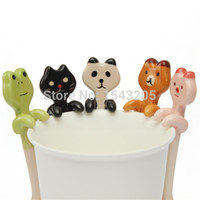 animal tea - Cute kinds choose Hanging cup Animal Ceramic stirring Spoon Coffee Milk Tea Household Tableware Kitchen dinner Decoration Sou