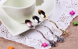 Wholesale Coffee Scoops Antique European Style Retro Small Spoon Alloy Surface Plating Tableware Cooking Tools cm Color