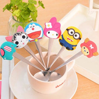 baby silver feeding spoon - Stainless Steel Cartoon Spoon Silver Coffee Spoon Ice Cream Spoon Kids Baby Feed Spoons Cooking Tools H306