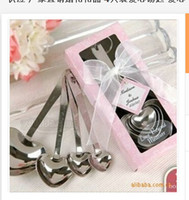 Wholesale set Stainless Steel Heart Shaped Measuring Spoon Set For Valentines Wedding gift eco friendly spoon