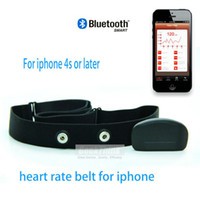 Wholesale New Wireless Bluetooth GHZ wireless Heart rate monitor CHest strap band For Iphone Fitness Healthy Living Free Ship