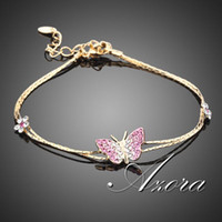 14k real gold - AZORA K Real Gold Plated Stellux Austrian Crystal Butterfly and Flower Charm Bracelet TS0008