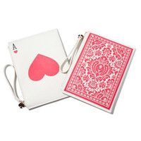 video poker - AD082 VIDEO sweet poker Ace hearts printed PU girl multifunctional day clutch coin purse mobile phone WHITE wristlet strap k