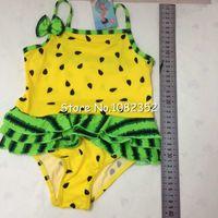 One-piece Girl Children's Day Wholesale-sundress 1 piece bikini swimsuit for kids girl swimwear baby girl swimming sundress red yellow green watermelon free ship