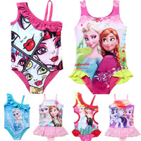 Wholesale Girls swimwear New Children Bathers infantil One piece Baby Girls Swimwear Swimsuit Cartoon my lit tle po ny Praias Livres