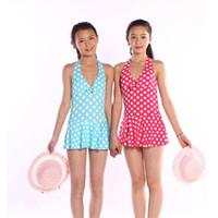 Wholesale High Quality Kids Girls One Piece Swimsuit Polka Dot Bikini Halter Backless Swimwear Size
