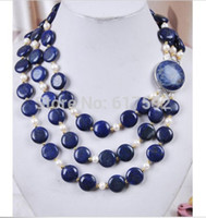 Wholesale Lapis Pearl Jewelry - Wholesale-3Rows White Akoya Cultured Pearl & Genuine Coin Lapis Lazuli Jewelry Necklace