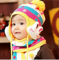 Wholesale hat scarf set Children Cotton Hat Sets Candy Color Kids Cap With Scarf Baby Beanies