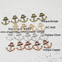 Wholesale Mixed Nautical Jewelry Anchor Charms Four Color Metal Zinc Alloy Trendy Anchor Pendant Charms pcs15 mm