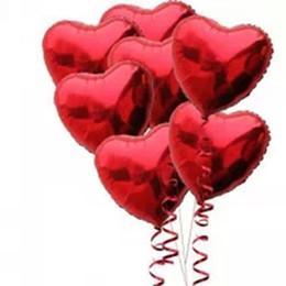 """Globos del corazón en Línea-Venta al por mayor-50PCS / lot 18 """"Globos de papel de corazón rojo Balloon Party Balloon Supplies Cumpleaños Decoración de Boda Juguetes clásicos"""