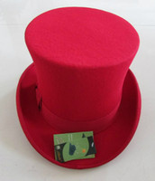 felt top hat - CM High Black wool top hat for women and men Red White Dark gray new traditional vintage felt fedora church hats
