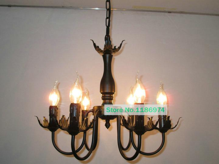 Wholesale 6 lamps vintage chandelier led candle iron antique chandeliers european country dining - Old chandeliers cheap ...
