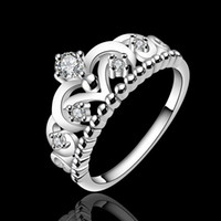 best wedding lists - Beautifully queen Crown Crystal silver rings new listing of fashion jewelry Women wedding rings best gifts