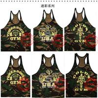 Wholesale GYM Camouflage vest NPC camouflage bodybuilding fitness thin belt vest hurdles h GOLD fly he POWERHOUSE Starlix dragon