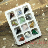 14k findings - Mix Multi style Pendulum Shape Natural Stone Charms Finding Pendants mm mm W02745