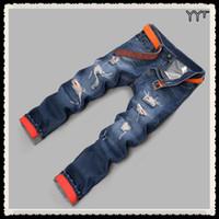 Wholesale Jeans Men Hot Sale Mens Youth Pop Men s Fashion Skinny Jeans Tear Hole Spring ripped jeans for men Denim Pant Fast