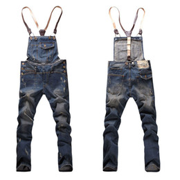 Wholesale New Mens Suspenders Jeans Fashion Distrressed Casual extended Denim Hole Pants Men Overalls bib Detachable Trousers FA070