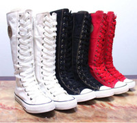 Cheap Wholesale-PUNK EMO Canvas Boots Sneaker Women Girl's Shoes Knee High Lace UP Boots Pick Size and Color Free Shipping