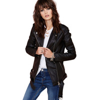 Cheap Wholesale-High Street BFstyle PU leather clothing rivet zipper stitching punk motorcycle leather jacket winter 2015 jaqueta couro haoduoyi