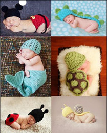 Wholesale Newborn Crochet Outfits Baby Costume Photo Photography Prop Knit Crochet Beanie Animal Hat Cap Set Kids Accessories Hats Caps