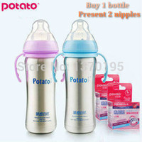 Wholesale Baby bottle Straw Brand Potato Stainless Steel Double Layer Insulation Milk Feeding Bottle With Handle Child Baby Water bottle