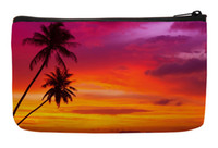 beach style pillows - Summer Style Palm Trees Silhouette on Sunset Tropical Beach Print Customized Small Cosmetic Bag Wristlet Makeup Bags