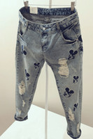 Wholesale women Mickey pattern summer trend loose straight ripped nine ladies jeans skinny jeans