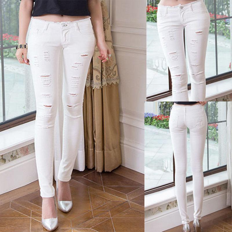 Wholesale-Women Jeans 2015 Fashion Stylish White Hair Fringed ...