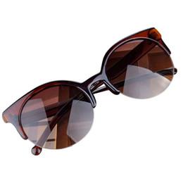 Promotion meilleures lunettes de soleil gros Gros-Best New Deal Bonne Qualité 2015 Mode Vintage Lunettes de soleil rétro Cat Eye Semi-Rim Lunettes de soleil rondes pour Hommes Femmes Lunettes de soleil 1pc