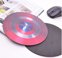 al por mayor print mouse pad-Alfombrilla de ratón para juegos al por mayor Pop Super Hero Capitán América Pentagram Shield Lujo Impresión Anti-Slip Durable Mousepad para PC Optical Mouse