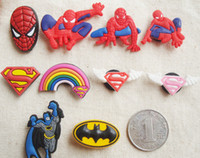 Wholesale New Arrival spiderman batman PVC Shoe Charms For Silicone Wristbands Kids toy Shoe Ornaments Kids Gift