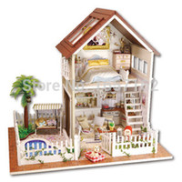 Wholesale Paris Apartment DIY Doll house D Miniature Wooden assembled LED light Music box Handmade kits Building model Children toy gift