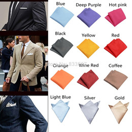 Wholesale-Fashion Chic Mens Silk Satin Pocket Square Hankerchief Hanky Plain Solid Color H5045 P