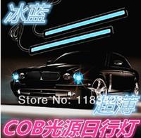 Cheap Wholesale-2 X 12V 5W 14cm COB LED DRL Driving Daytime Running Lights Super Bright White lamp Aluminum Chip Bar Panel free shipping