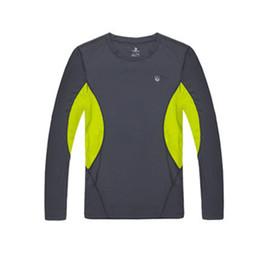 Venta al por mayor-Men Running T Shirts 2015 nuevo de Long Entrenar manga Sudor de mecha de secado rápido Tops Ropa Negro Verde Patch Work desde camiseta para correr verde fabricantes