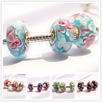 applied style - hot DIY big hole D flower Murano beads apply to Fit Pandora Style Bracelets accessory fashion Jewelry Findings