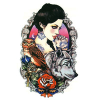 beauty owl - x12cm tattoo stickers waterproof female beauty original simulation retro flower owl wolf totem arms trade AX32