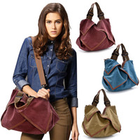 Cheap Wholesale-2015 Women Vintage Canvas Handbags Colorful European And American Style Single Shoulder Bags &High Quality Designer Bags