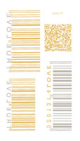 bar code design - VHC77 New Waterproof Tattoo Golden Gold Design Bar code QR Code Symbol Fake Glitter Metallic Temporary Tattoo Stickers
