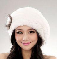 rabbit fur hat - New Fashion Nature Rex Rabbit Fur Hat Fur Knitted Rabbit Fur Cap Real Rabbit Fur Headwear Winter Hat AF107