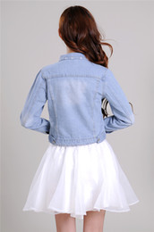 Wholesale New Korea Fashion Korea Women s Ladies casual Light Blue lovely jean denim jacket Coat AG