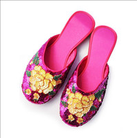 silk slippers women - Vintage round toe house slippers sequins Embroidered Chinese folk style silk slipper cow muscle soft sole indoor slippers