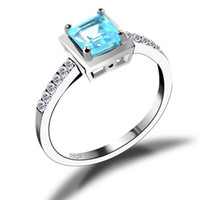 Wholesale Feelcolor Sterling Silver Natural Sky Blue Topaz Romantic Design Princess Top Quality