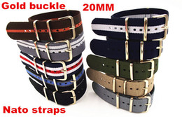 Wholesale-Gold buckle New arrived - Wholesale 10PCS lots High quality 20MM Nylon Watch band NATO straps waterproof watch strap gold color