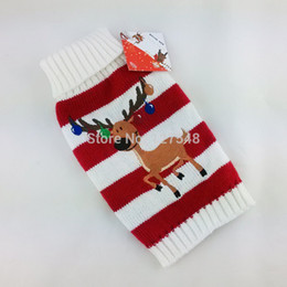 Wholesale Xmas Reindeer Design Lovely Puppy Pet Cat Dog Chihuahua Teddy Sweater Knitted Coat Apparel Clothes Sizes Christmas Free Ship