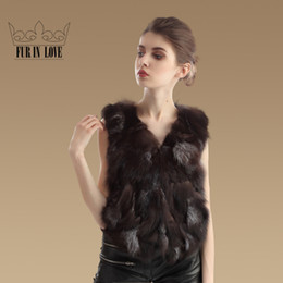 Wholesale- New Fashion Women Real Fox Fur Vest Luxurious Fox Fur Waistcoat Warm Natural Fox Fur Gilet Winter Fur Outerwear