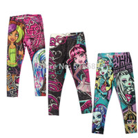 Wholesale Retail New Girls Skinny Pants Y Monster High Kids Trousers Leggings Costume Lovely Fashion Spring Auturm Comfortable