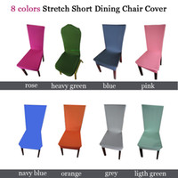 Wholesale Stretch Chair cover pure color Colors Stretch Short Dining Chair Cover Machine Washable NEW Restaurant Chair cover